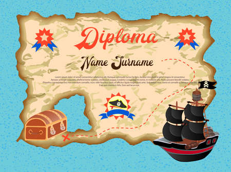 Diploma of the winner in the quest search of pirate treasure Vector illustration Ilustracja
