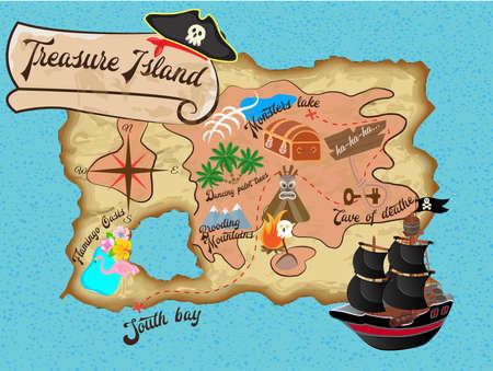 Kaart van Treasure Island voor Pirate quest vectorillustratie
