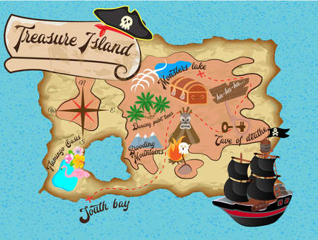 Map of Treasure Island for Pirate quest Vector illustration