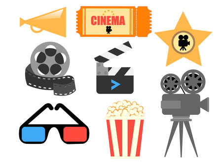 Elements for design Advertising Posters on the theme of Cinema Vector illustration