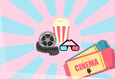 Cinema illustration, spool with film tape, cinema theater popcorn can and tickets. Vector illustration.