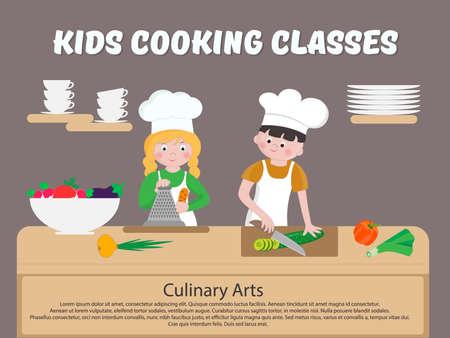 Enfants Cooking Classes Poster Enfants cuisiner Vector illustration