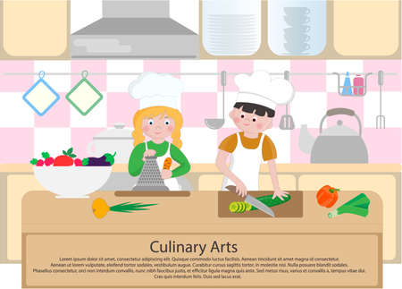 Children cook in the kitchen. Culinary Arts concept. Cooking Class Poster. Vector illustration.