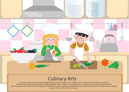 I bambini cucinano in cucina. Concetto di arti culinarie Poster di cucina. Illustrazione vettoriale