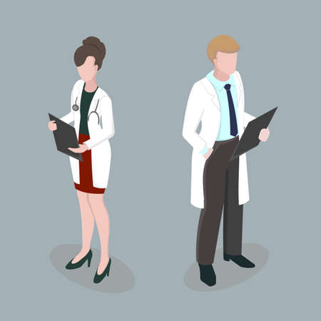 Medical staff Man and Woman Meeting doctors 3d isometric disign vector illustration