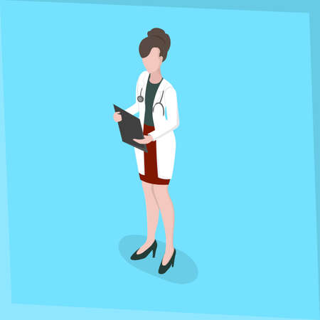 Medical staff Woman Doctor Medical survey Isometric 3d disign Vector illustration Illustration