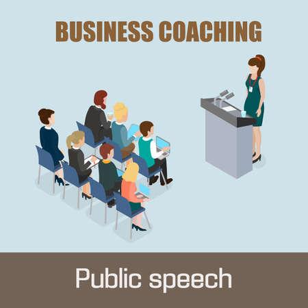 ability to speak: Business coaching. Public speech concept. Vector illustration isometric 3d concept.