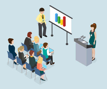 Mentoring and coaching. Public speech concept isometric 3d vector illustration.