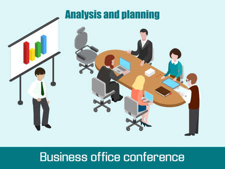 Flat 3D isometric business conference concept. Talking, discussing businesspeople. Illustration