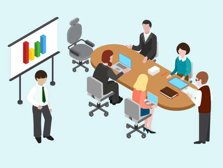 prognostication: Flat 3D isometric business conference concept. Talking, discussing businesspeople. Vector illustration.