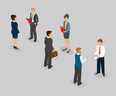Business talk, conversation at the office, dialogue between the boss and the subordinate. Isometric 3d vector illustration.