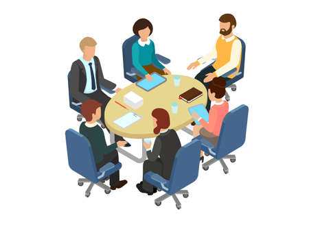 Conversation at the round table in the office. Business brainstorming 3d concept. Isometric vector illustration.