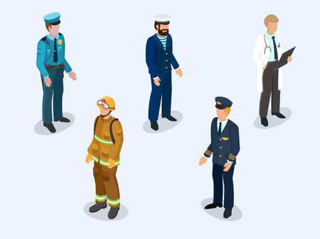 パイロット、セーラー、医師、消防士、別の職業 3 d 等角投影図のベクトル図の代表として制服を着た警官