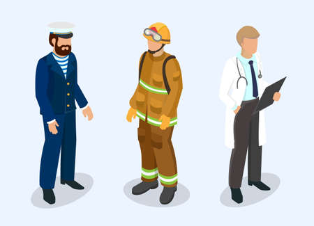 Sailor, firefighter and doctor at the professional people concept. 3d isometric