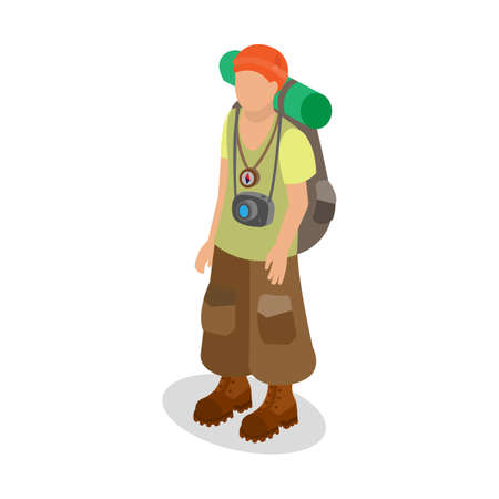 Tourist in a travelers outfit with a backpack Isometric 3d style vector illustration