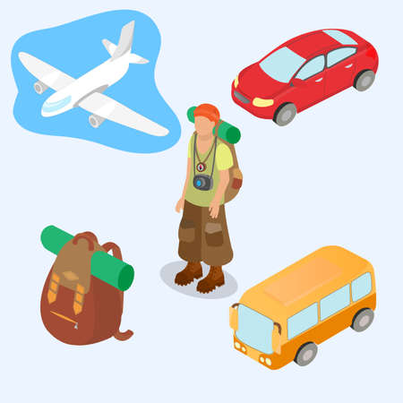 Plane, bus, car, backpack with a road rug and tourist traveler in a bandanna with a backpack in road boots as travel symbols Isometric 3d style vector illustration