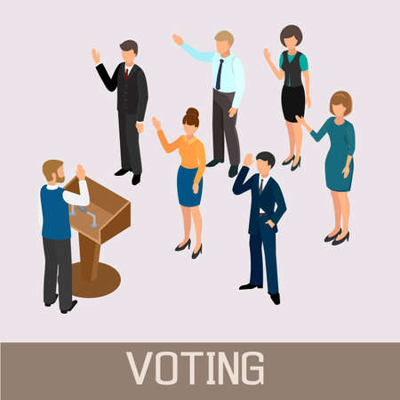 accord: Voting people before the speaker in the tribune. Isometric vector illustration.