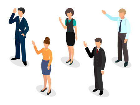 Voting people Isometric style vector illustration