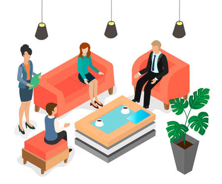 Isometric vector image of a chatting office staff. Business meeting in the lobby. Talking office employees. Illustration
