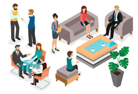 Talking employees at a business meeting in the lobby of the office or meeting room, at a table, over a cup of coffee. Isometric vector image.
