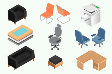 Set of office furniture and equipment.
