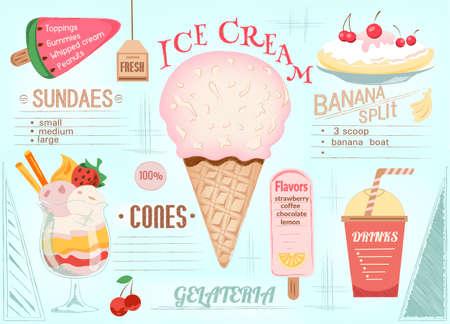 Place mat Ice Cream. Single page menu. Vector illustration.