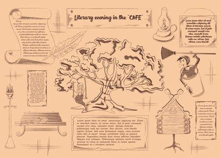 Unterhaltungsplakat für die literarische Cafévektorillustration