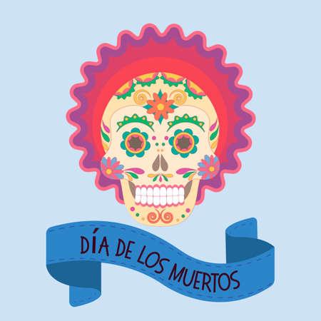 Skull with a pattern symbol of a Mexican holiday Dia de los Muertos. Vector illustration EPS10.