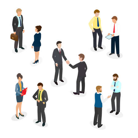 People in the office shaking hands, chatting, talks, business communication. Isometric illustration EPS 10. Illustration