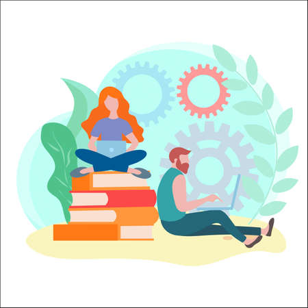 Blogging concept, content writer, online education, book store. Vector illustration for banners, social media, posters, cards.