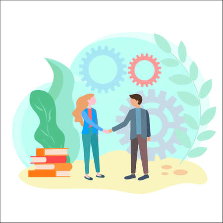 The handshake of partners in business or study, the concept of agreement, the adoption of a deliberate decision that will bring the result in the future. Symbols of friendly and business consent, development, partnership. Vector illustration. 일러스트
