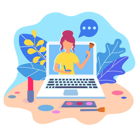 The beauty blogger promotes channel on social networks, achieving success and advertising cosmetics concept, advertising on social networks concept. Workshops online. Vector illustration.