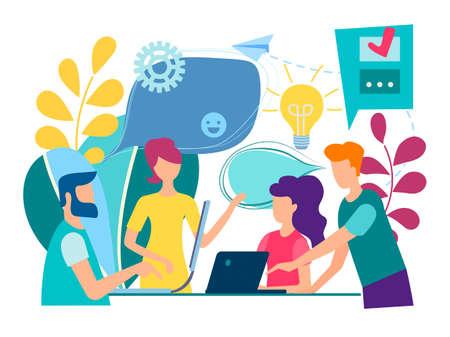 Szkolenie pracowników biurowych. Koncepcja pracy zespołowej i burza mózgów. Ilustracje wektorowe