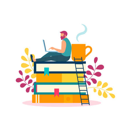 A young man is studying, working, resting at home on books. Online learning concept