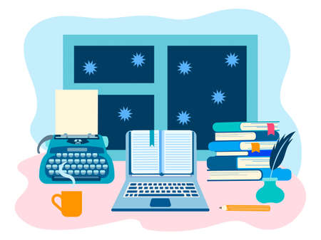 Literary workshop, the working space of the writer, literary work. Vector illustration for web design, blogging, social networks 向量圖像