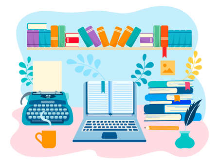 The working space of the writer, literary creative work. Vector illustration for web design, blogging, social networks