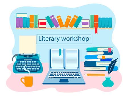Literarische Werkstatt, die Buchwelt, der Arbeitsraum des Schriftstellers, literarisches Werk. Vektorillustration für Webdesign, Blogging, soziale Netzwerke Vektorgrafik