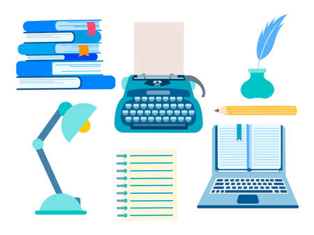 Set of writers accessories, objects of working space of the literary worker. A typewriter, a lamp, a stack of books, a notebook, a pencil, an inkwell and a feather. Vector illustration. 向量圖像