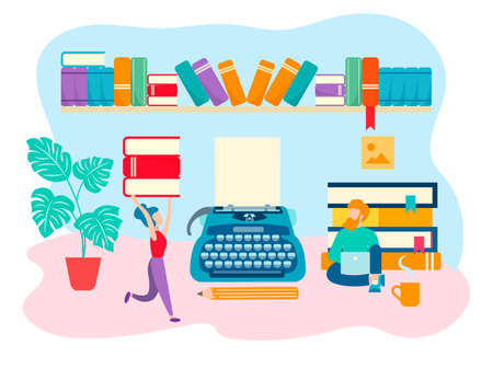 The concept of the book world, the working space of the writer, literary work. Vector illustration for web design, blogging, social media.
