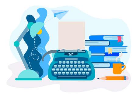 Illustrazione vettoriale del desktop dello scrittore. Macchina da scrivere, lampada da tavolo, libri e matita sul piano di lavoro. Immagine per social network, web design, blog, poster.