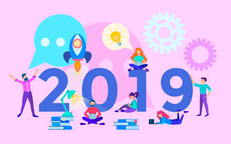 A successful startup in the new year, business planning on the eve of the new year, the concept of teamwork a new stage in the work, the inscription 2019 on the background of the working process in the office Illustration