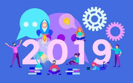 The inscription 2019 on the background of the working process in the office, business planning on the eve of the new year, the concept of a new stage in the work, a successful startup in the new year Stock Vector - 127618597