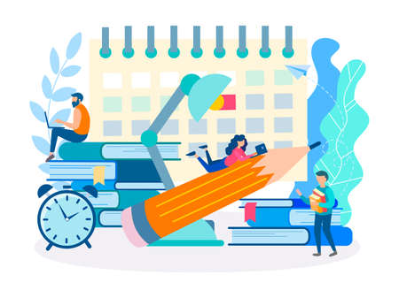 Working atmosphere in the office, deadline at work, teamwork, document flow and compliance with the schedule. Vector illustration.