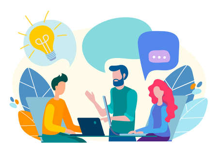 Conversation, communication, discussion in the office, teamwork, discussion of current issues and tasks, brainstorming concept. Vector illustration.