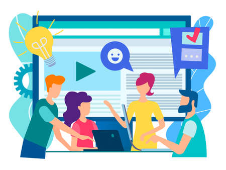 Office staff discuss current tasks with the help of modern technology gadgets, social media, the Internet. World communication online concept. Vector illustration.