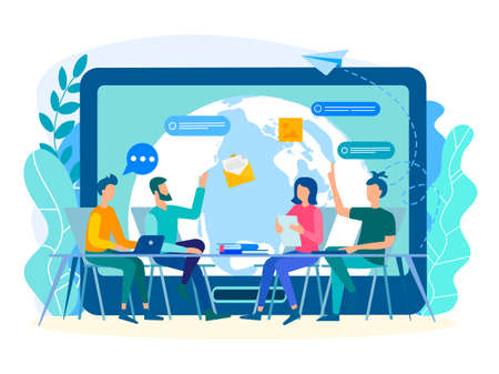 Discussion of current tasks by employees in the office with the help of modern technologies of gadgets, social media, the Internet. In touch with the whole world concept. Vector illustration.