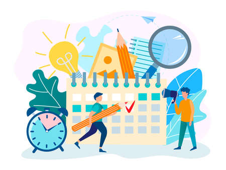 Deadline at the office, Teamwork and workflow organization. Vector illustration. 向量圖像