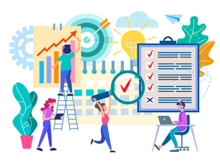 Business planning in the office, teamwork, organization of the working process, brainstorming. Vector illustration waiting for web design and social marketing. 向量圖像
