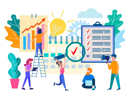 Perform work by staff on time, workflow organization, brainstorming, teamwork, time management concept, business planning. Vector illustration.