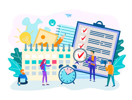Perform work by staff on time, time management concept, business planning, workflow organization, brainstorming, teamwork. Vector illustration.